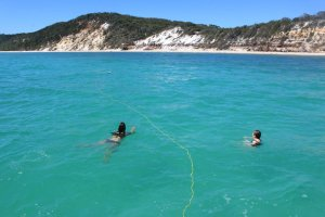 A swim off Fraser Island to cool down.