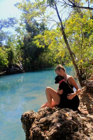 Dodge and I in FNQ swimming at a magic little spot called 'Spa Pool'