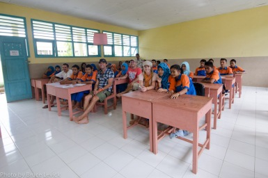 At school in a local village in Sumatra teaching elephant conservation.