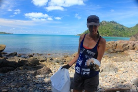 Out in the field with Eco Barge removing marine debris.