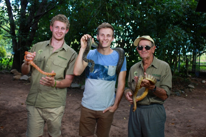 Filming an episode of Totally Wild with Ben Dessen and Bob Irwin.