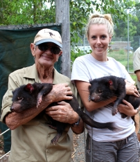Bob and I with some little devils out at QLD Zoo.