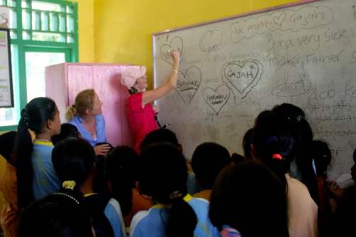 Elephant Care Community Class in Sumatra.