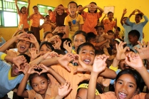 School children in the Sukabaru Village in Seblat.