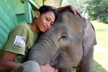 Aswita's beautiful Mahout Mr Tuhirman with Bona